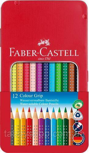Акварельні олівці Faber Castell GRIP 112413 в металевій коробці (12 цв.)
