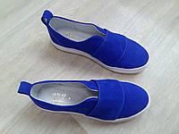 Детские синие слипоны мокасины подростковые для девочки яркие легкие весна лето