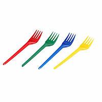 Вилка одноразовая пластикова цветная 17 см 100 шт/уп (25уп/ящ), Супер ЮН