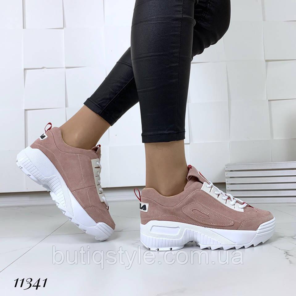 Красивые женские  кроссовки  = FiL_= цвета PINK, натуральный замш
