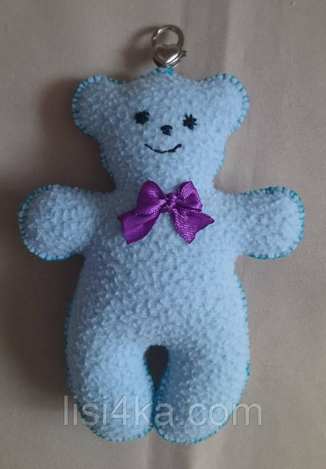 Брелок игрушка медвежонок голубого цвета с карабином