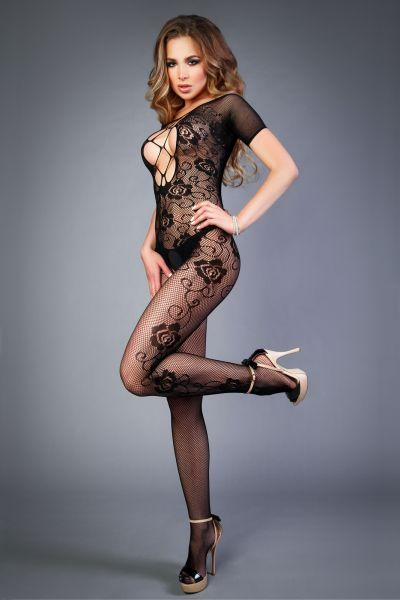 Сетка Bodystocking in net look with floral pattern black, S-L (40-46)