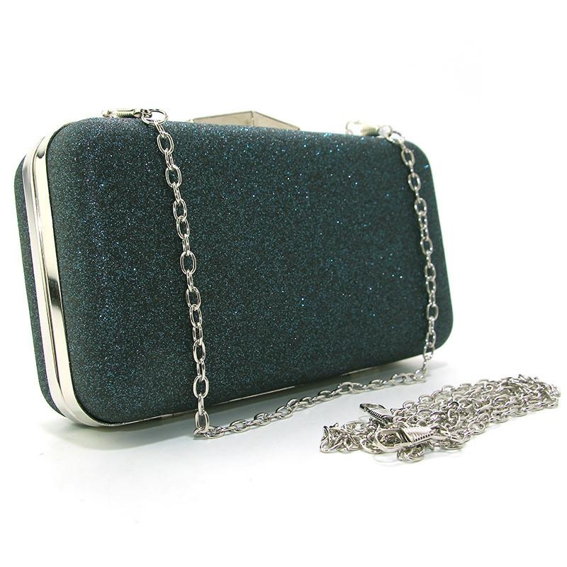 649d33ffb905 Зеленая вечерняя сумка-клатч rh-09829 gre бокс с блестками на цепочке, фото