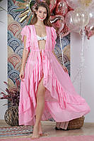 Пляжная длинная туника с воланами, цвет - нежно-розовый.