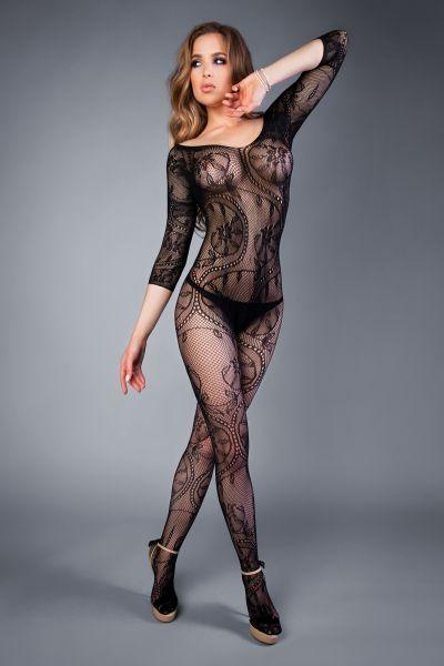 Сетка Bodystocking in net optic with crocheted ornaments black, S-L (40-46)