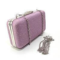 Фиолетовый клатч-бокс rh-09829 pur вечерний с блестками на цепочке, фото 1