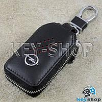 Ключница карманная (кожаная, черная, с карабином, на молнии, с кольцом), логотип авто Opel (Опель)