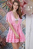 Туника пляжная короткая, цвет - нежно-розовый.