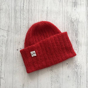 Шапка-такорі з кід-мохеру дитяча червона
