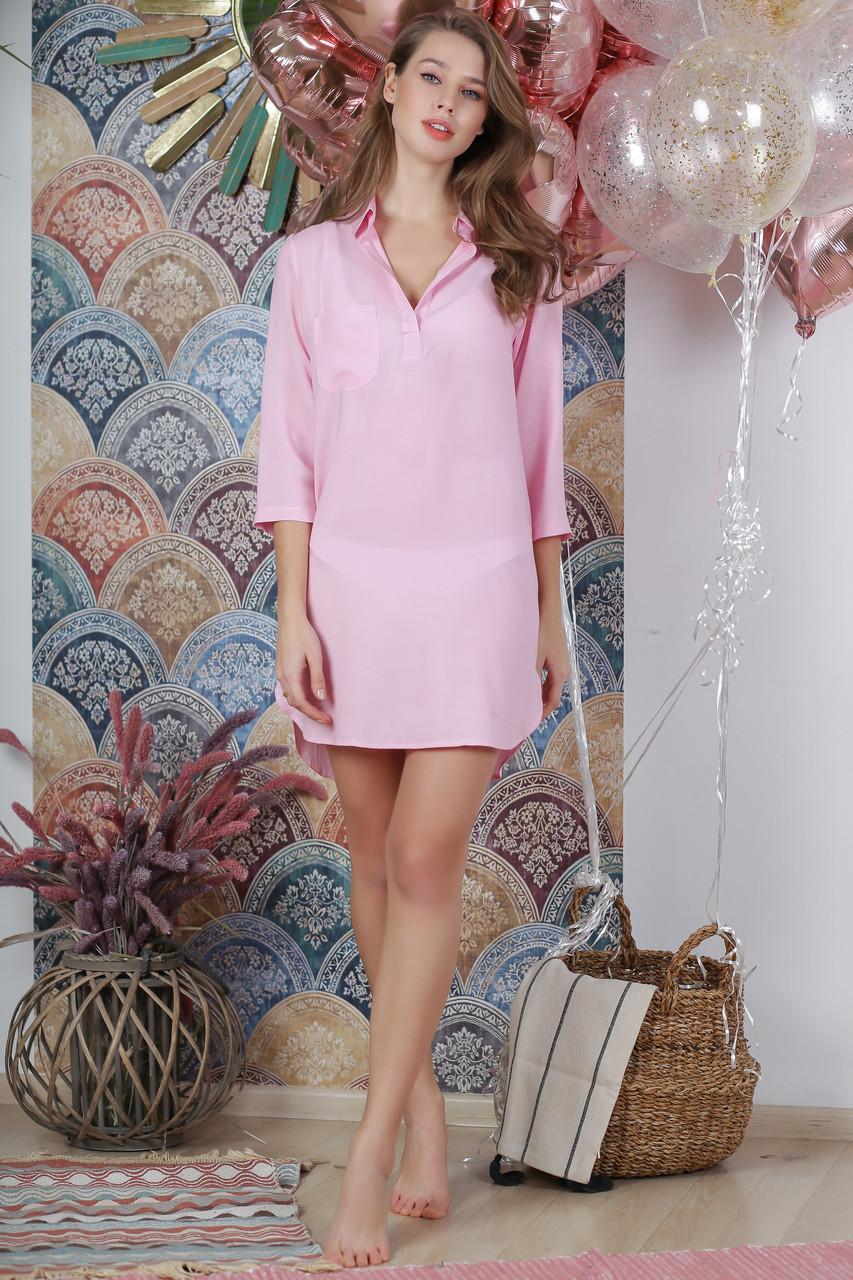 Пляжная туника рубашка, цвет - нежно-розовый.