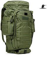 Тактический рюкзак 60 литров с доп отделением  (удочки,винтовки). Оливковый