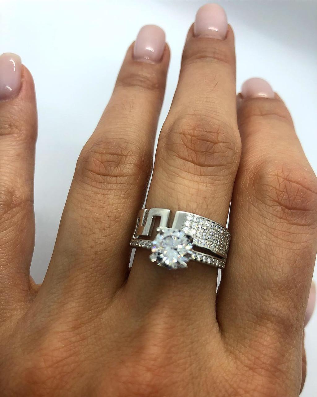 Кольцо из серебра 925 My Jewels в стиле обручального модель Версаче (размеры 17,5 -19), фото 1