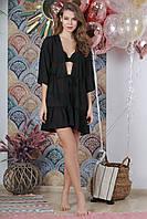 Туника пляжная короткая с воланом, цвет - черный.