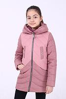 Демисезонная удлиненная куртка-пальто для девочки «Кира» пудра ТМ MANIFIK