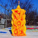 """Восковая свеча """"Коралловые Маки и Колоски"""" из пчелиного воска, фото 3"""