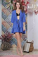 Туника пляжная короткая с воланом, цвет - синий.