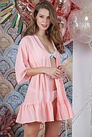 Туника пляжная короткая с воланом, цвет - персик.