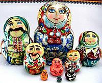 """Деревянна игрушка-матрешка """"Украинская семья"""", авторская роспись, ручная работа, народный мастер из Запорожья"""
