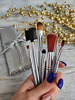 Кисти для макияжа 7 штук в чехле (СЕРЕБРО), фото 1