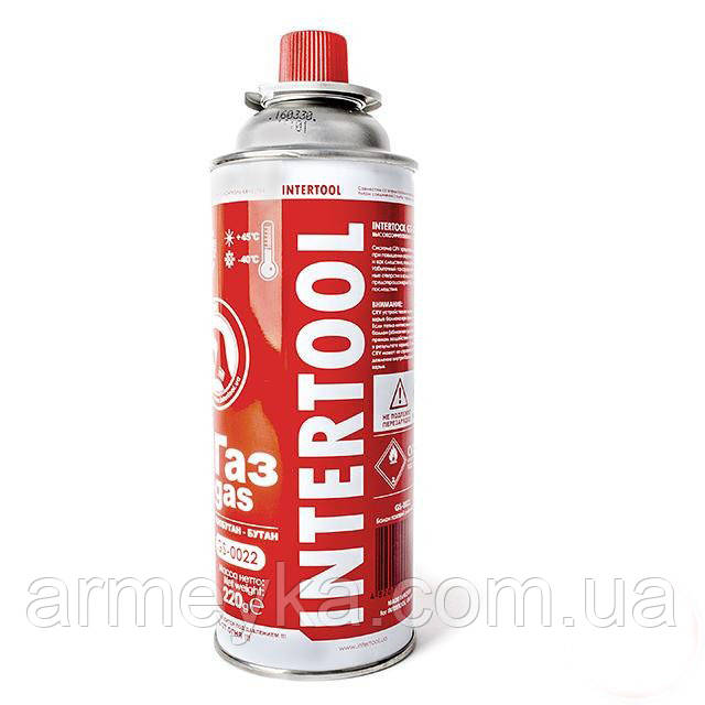 Газовый баллон Intertool изобутан/бутан для портативных газовых приборов.