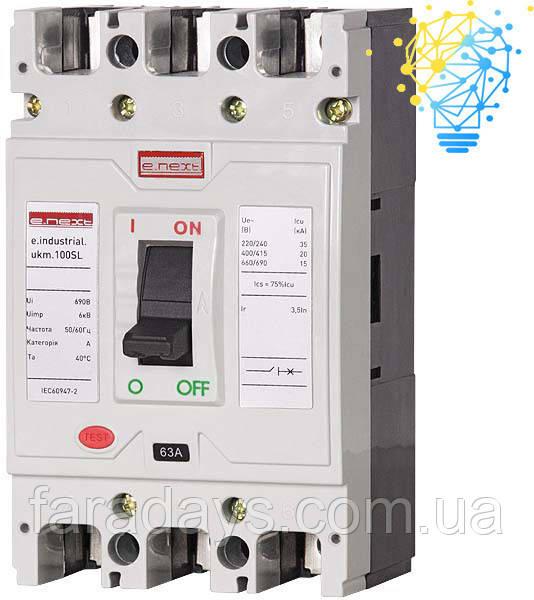 Шафовий автоматичний вимикач 3р, 63А (e.industrial.ukm.100SL.63)