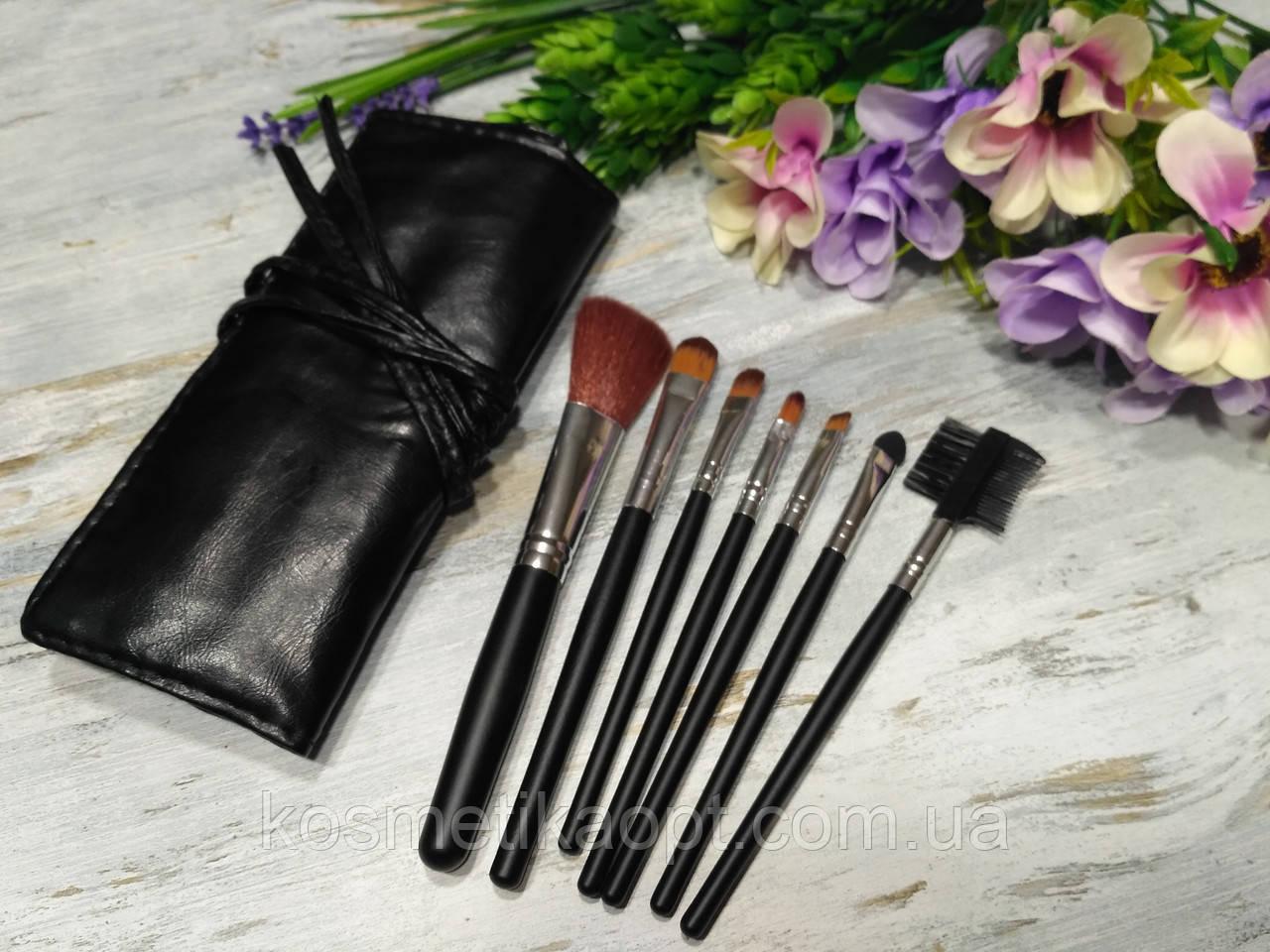 Кисти для макияжа 7 штук в чехле (ЧЕРНЫЕ)
