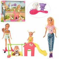 Кукла DEFA 8409 ( 4шт(29см,22см,10см), игровая площадка, расческа, 2вида,в кор-ке,40,5-32-9,5см(DEFA 8409)