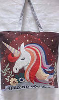 Летняя женская сумка тканевая Единорог