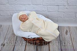 """Пеленка кокон с шапочкой для новорожденных на молнии, """"Ангоровая"""", молочная, для деток 0-3 мес."""
