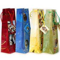 """Пакет бумажный подарочный """"BOT"""" 12*9*36 под бутылку с рисунками 12шт/уп"""