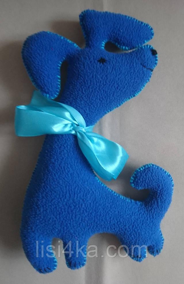 Игрушка собачка ярко синего цвета