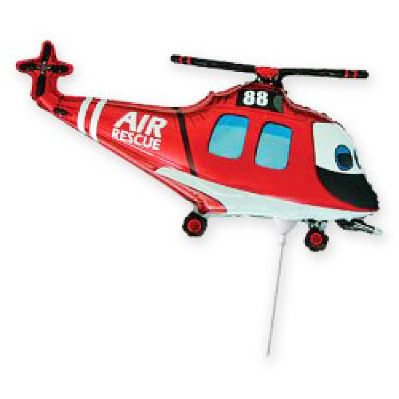 Фольгированный шар Вертолет Спасатель Красный, Flexmetal (Испания)