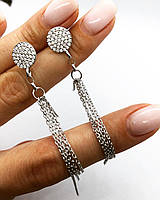 Серьги подвески My Jewels из серебра с куб. цирконием модель Tassel