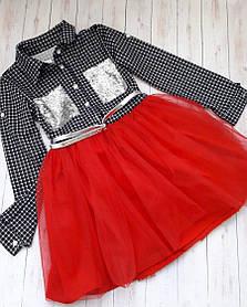 Модное клетчатое детское платье с красной фатиновой юбкой