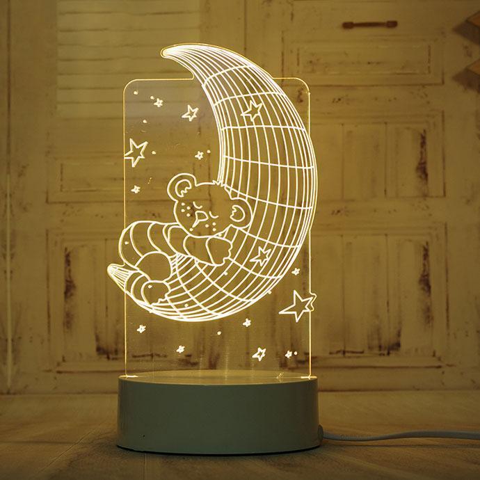 LED светильник, ночник, Медведь на Луне, (доставка по Украине)