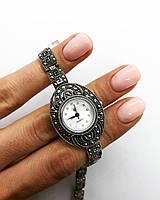 Годинник з крапельного срібла 925 Beauty Bar з натуральними каменями марказит