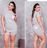 Женский серый трикотажный комплект шорты с футболкой 50-52, фото 1
