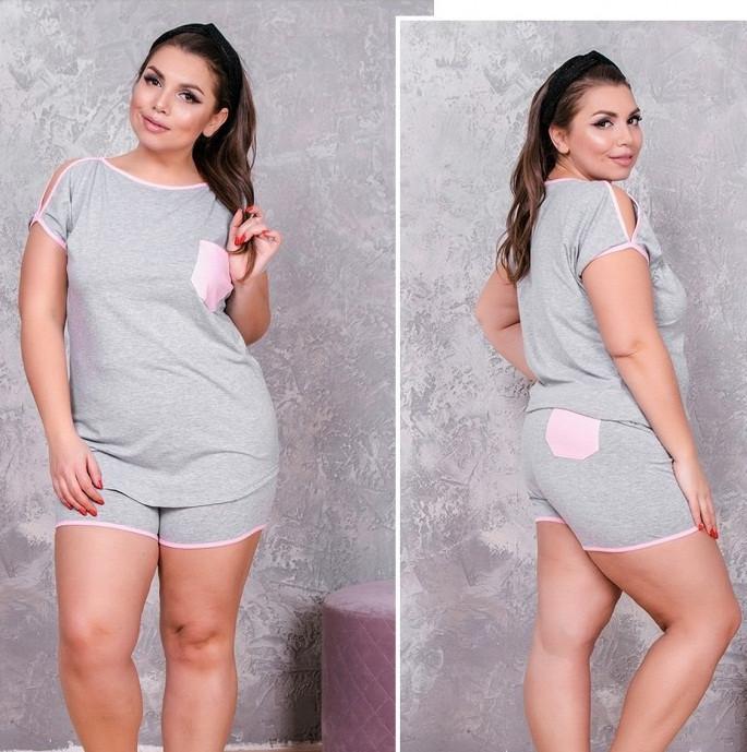 Женский серый трикотажный комплект шорты с футболкой 50-52