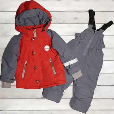 Детский весенний осенний комбинезон для мальчика 74-98 рост красный, фото 2