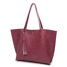 Женская сумка бордовая деловая с кисточкой