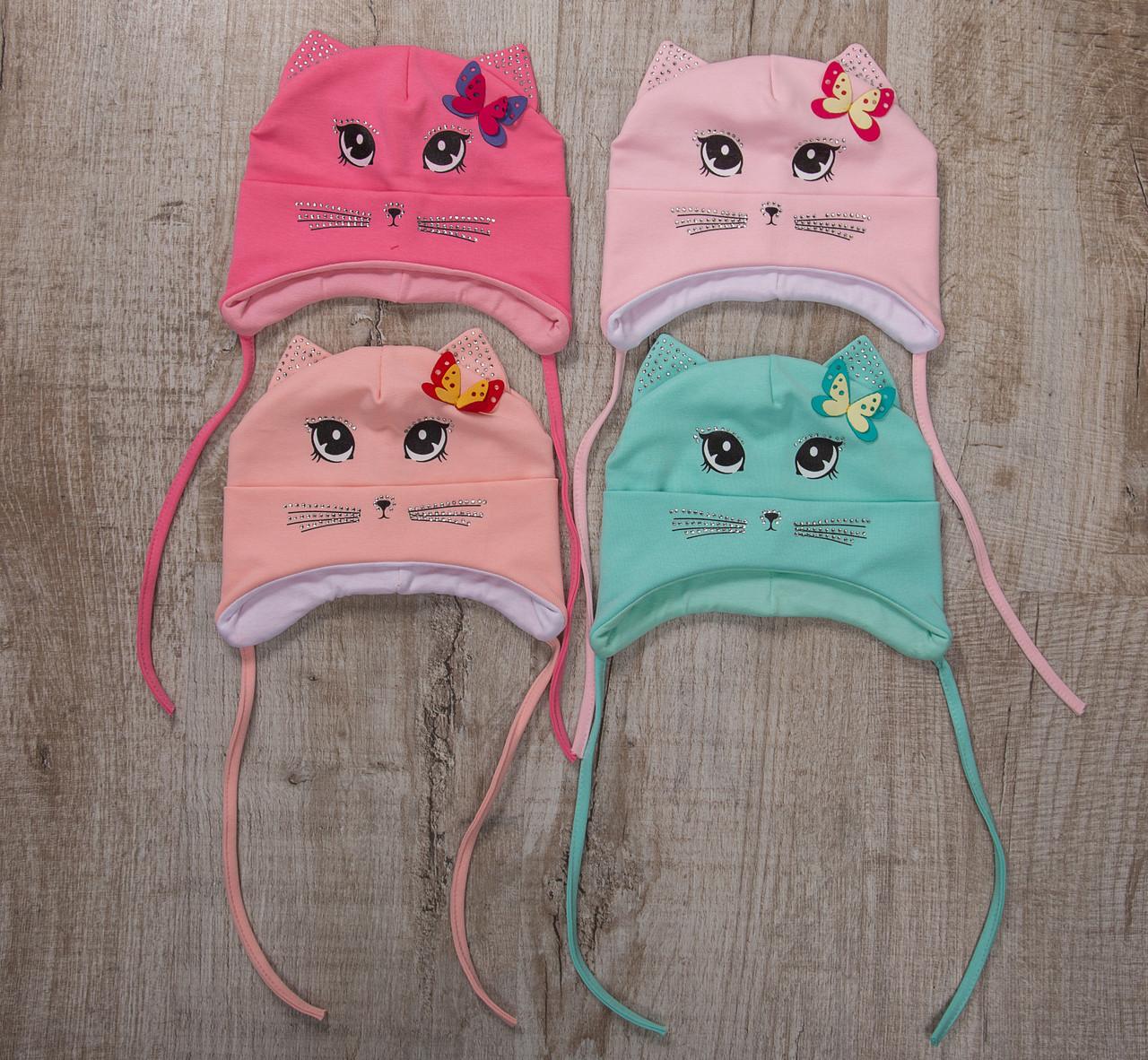 Хлопковая шапка для малышек грудничков на весну - Котики - Артикул 2418