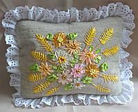 """Интерьерная подушка """"Цветы и пшеница"""", фото 1"""