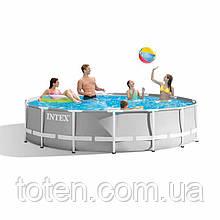 Каркасний басейн Intex 26702, 305 х 76 см, сірий, 4485л, фільтр-насос