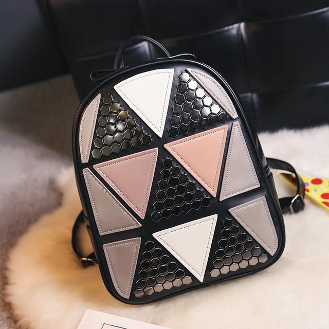 Женский рюкзак треугольники черный