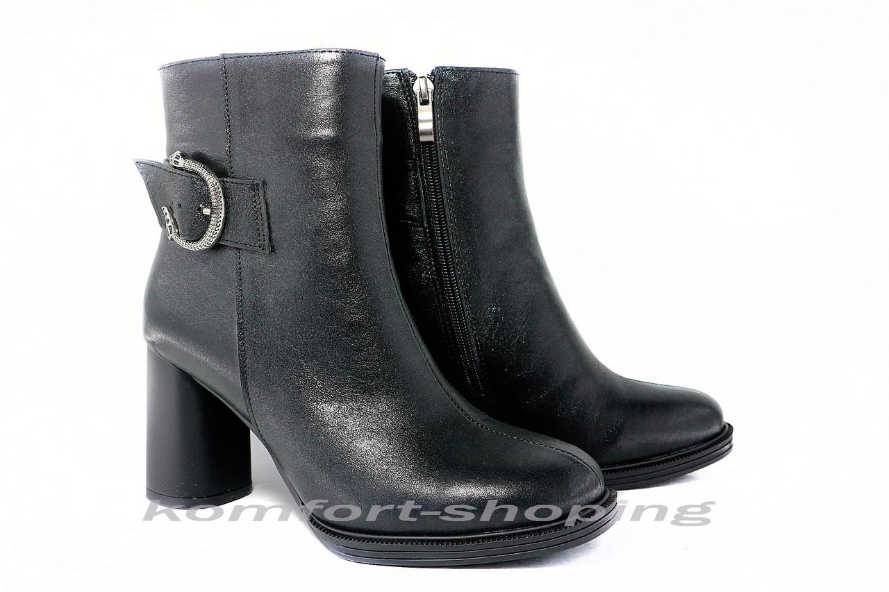 Женские  ботинки на  каблуке, черные кожаные с блеском   V 1228