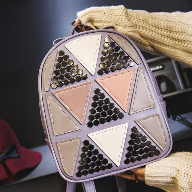Женский рюкзак треугольники сиреневый