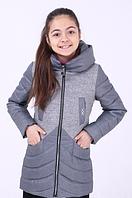 Удлиненная демисезонная куртка-пальто для девочки «Кира» серая ТМ MANIFIK