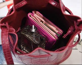 Женская сумочка мешочек маленькая бордовая, фото 3