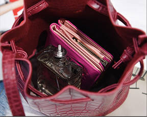 Жіноча сумочка мішечок маленька бордова, фото 3