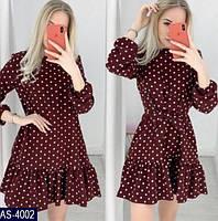 Женское легкое весенне-осеннее мини платье в горошек,рукав три четверти (versace) 3 цвета (батал), фото 1